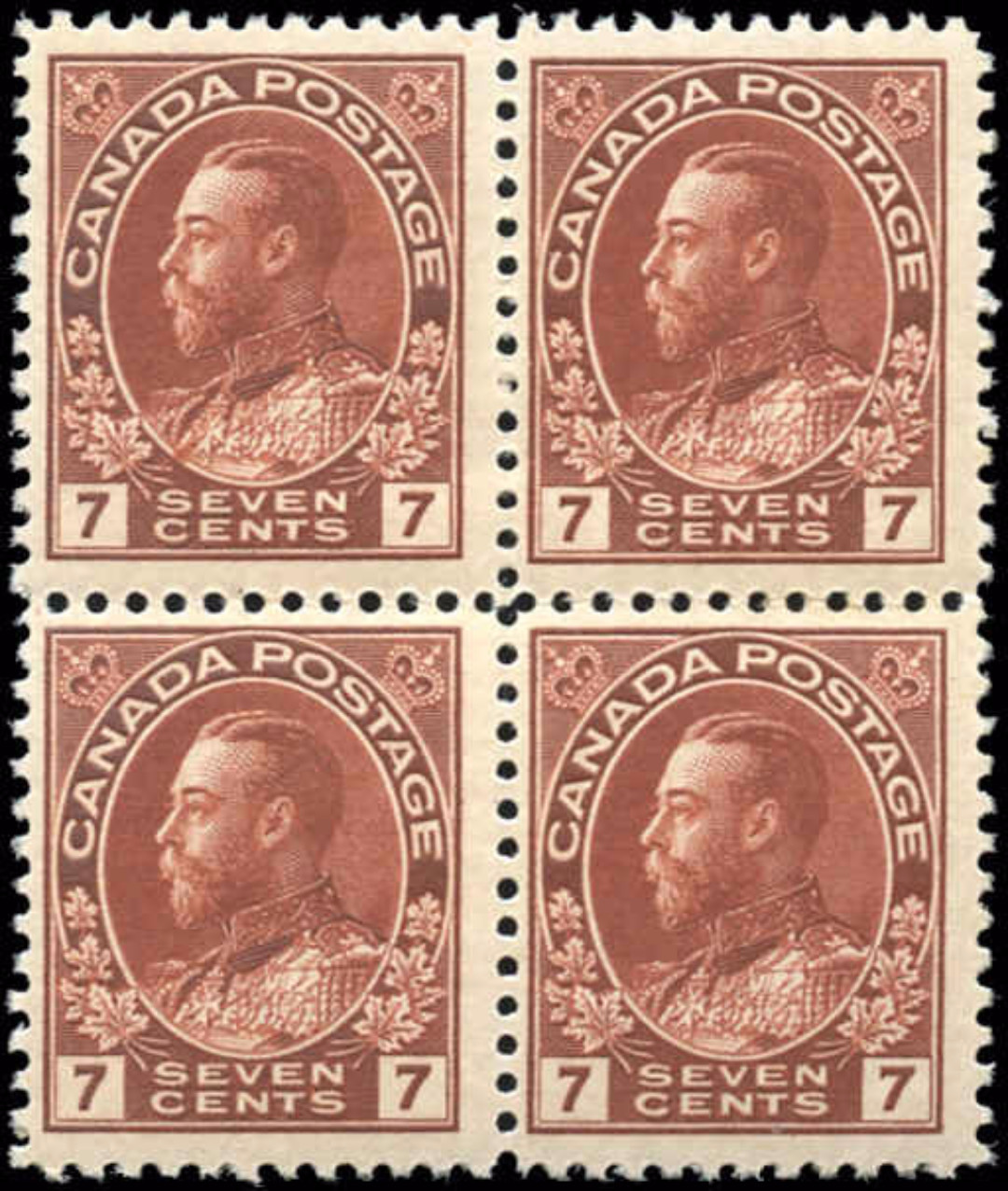 Canada Stamp, Scott #114b Block, F+, MH