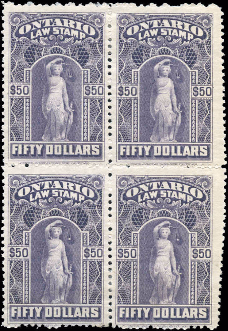 Ontario #OL65, F+, MH, $50 Law Stamp.