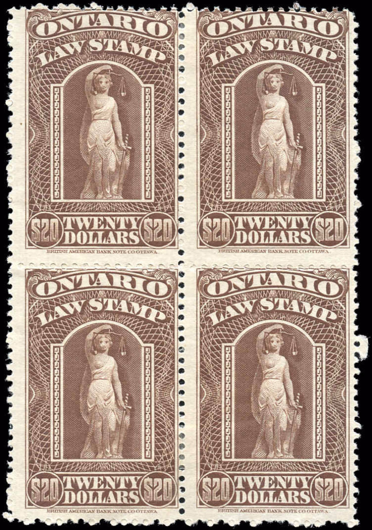 Ontario #OL64, F, MH, $20 Law Stamp.