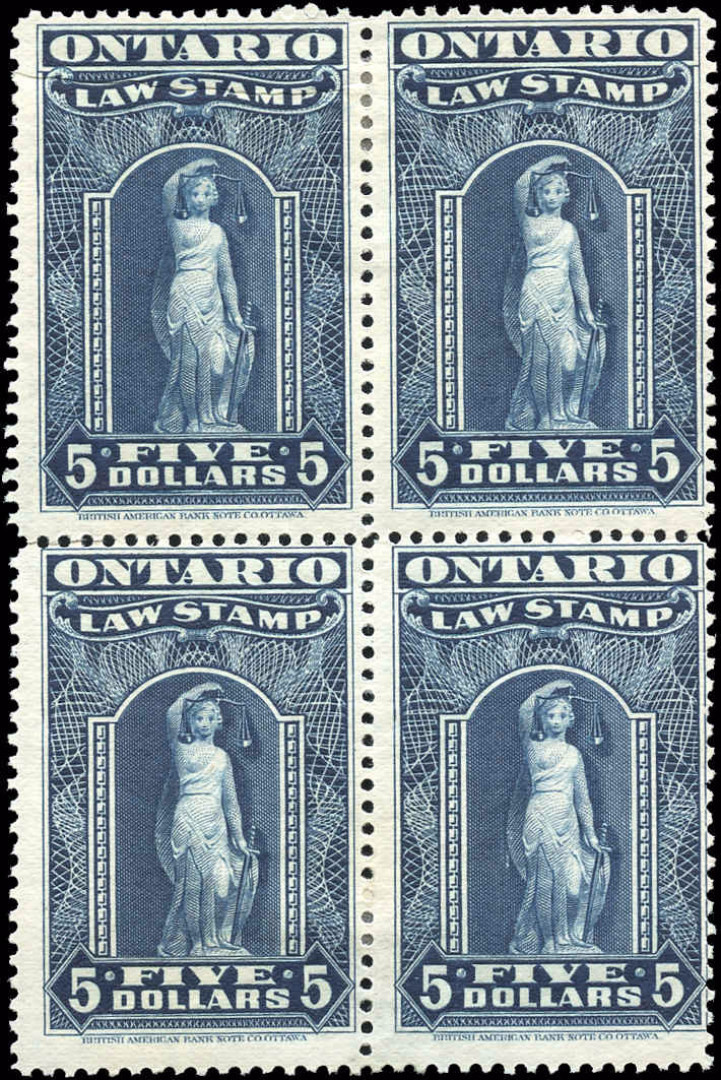Ontario #OL62, F-VF, MH, $5 Law Stamp.
