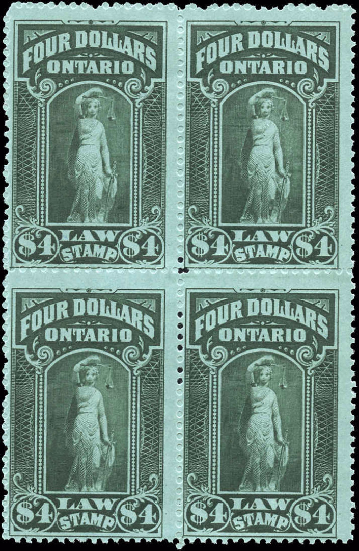 Ontario #OL61, F-VF, MH, $4 Law Stamp.