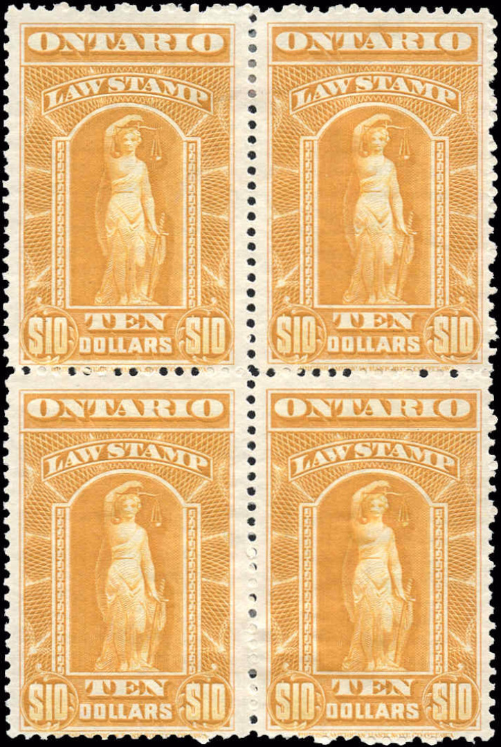 Ontario #OL63, F-VF, MH, $10 Law Stamp.