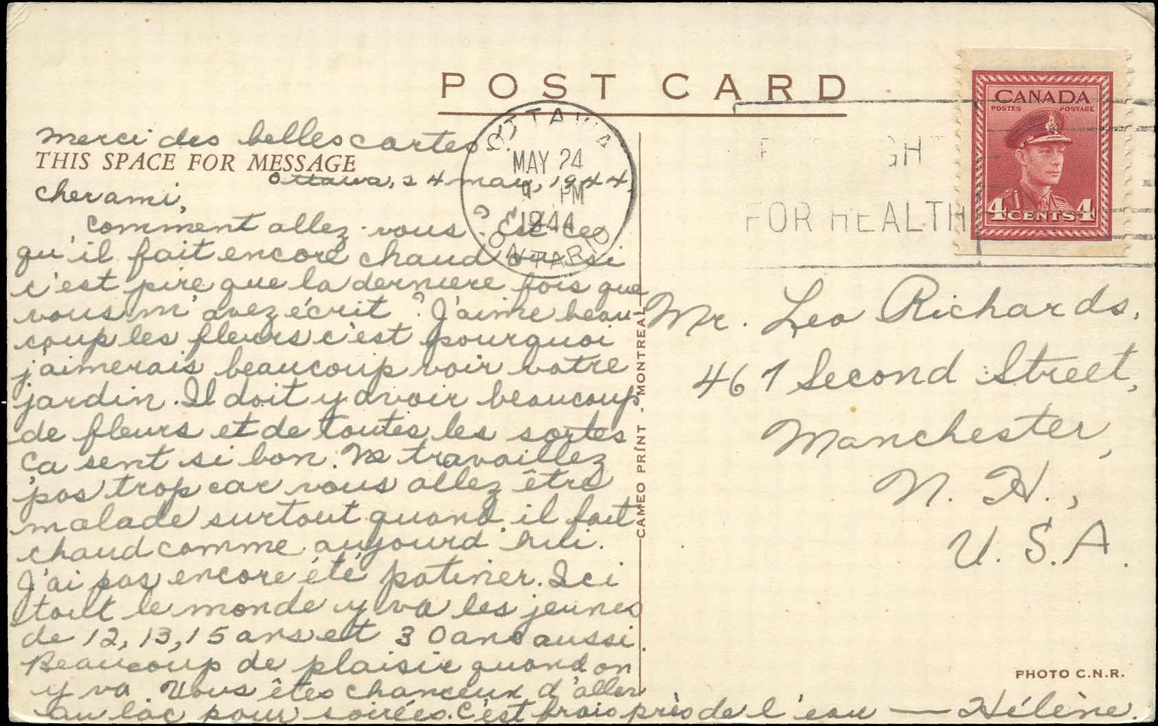 Canada Post Card, May 24, 1944