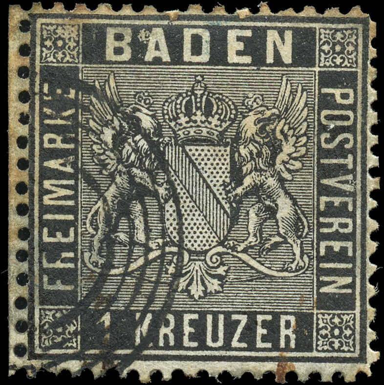 German States - Baden, ##10, F, Used