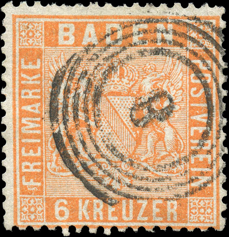 German States - Baden,  ##13, F, Used