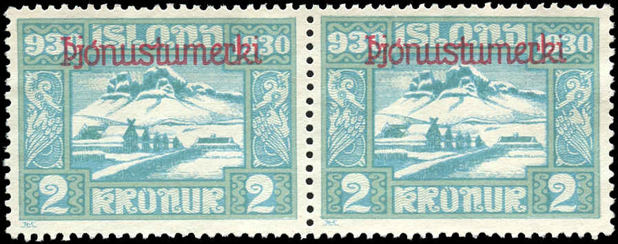 Iceland, #O65, Pair, F-VF, Mint-No Gum