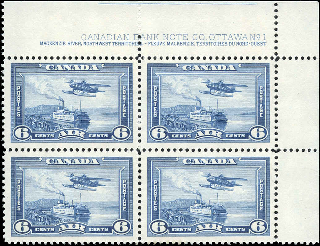 Canada #C6, Airmail Issue, VF, MNH, Plate 1