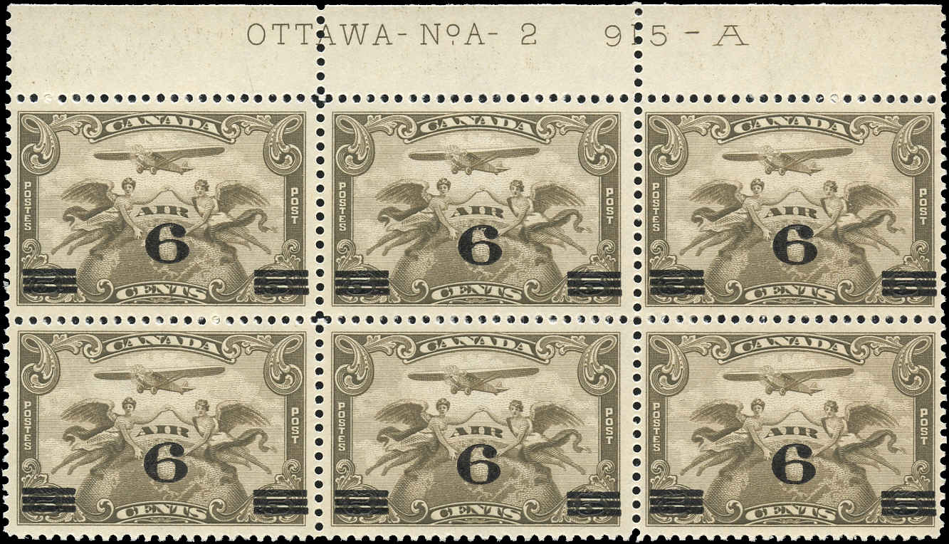 Canada #C3, Airmail Issue, F-VF, MNH, Plate 2