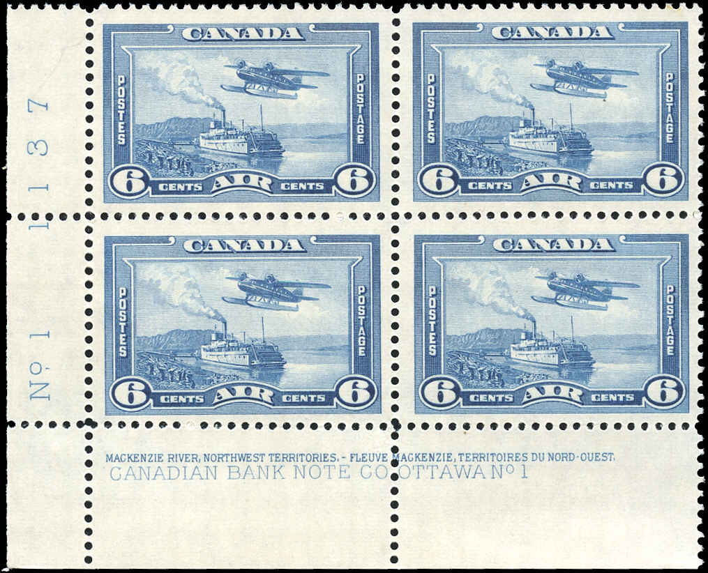 Canada #C6, Airmail Issue, F-VF, MNH, Plate 1