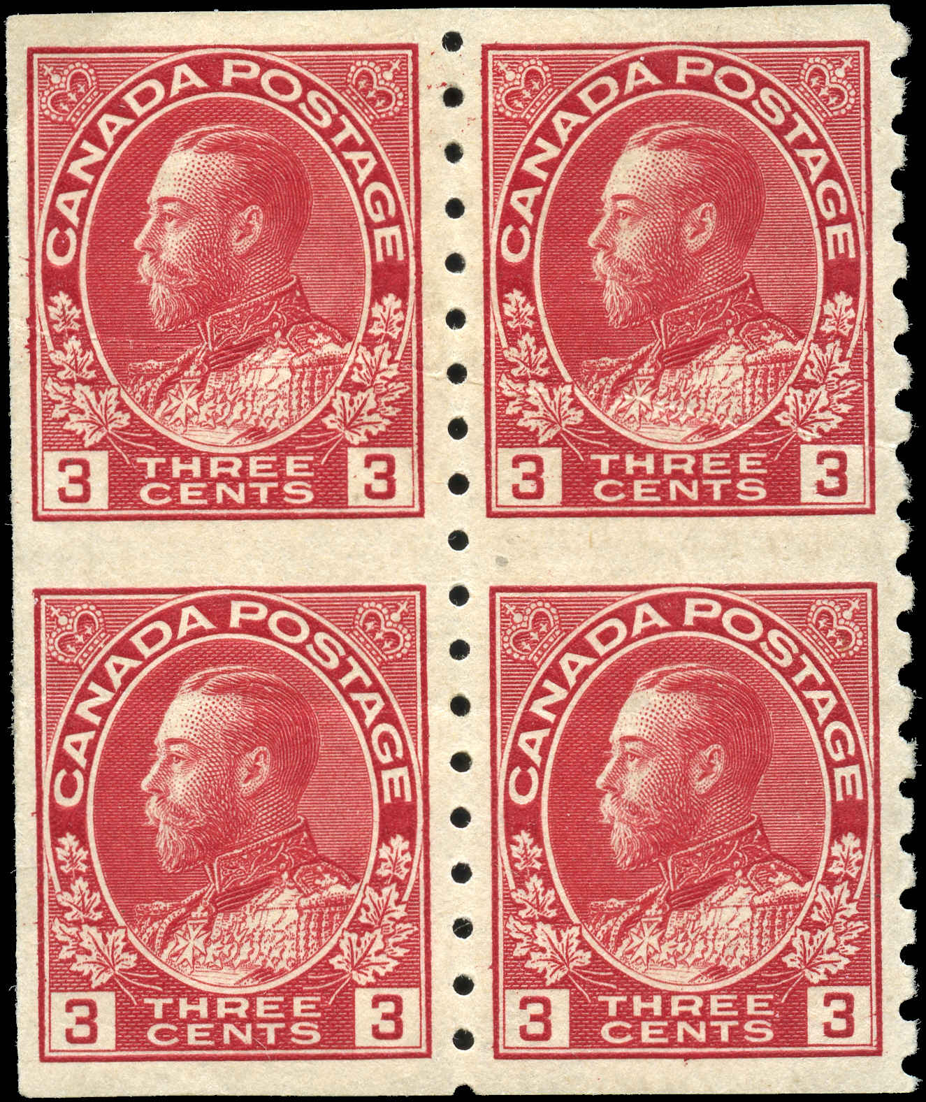 Canada Stamp, Scott #130a Block, VF, MH