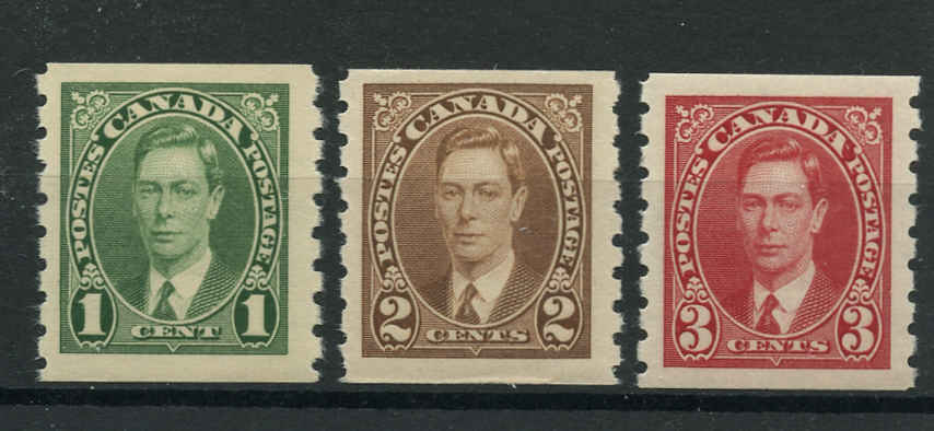 Canada #238-40, KGVI Coil Issue, F-VF, MNH