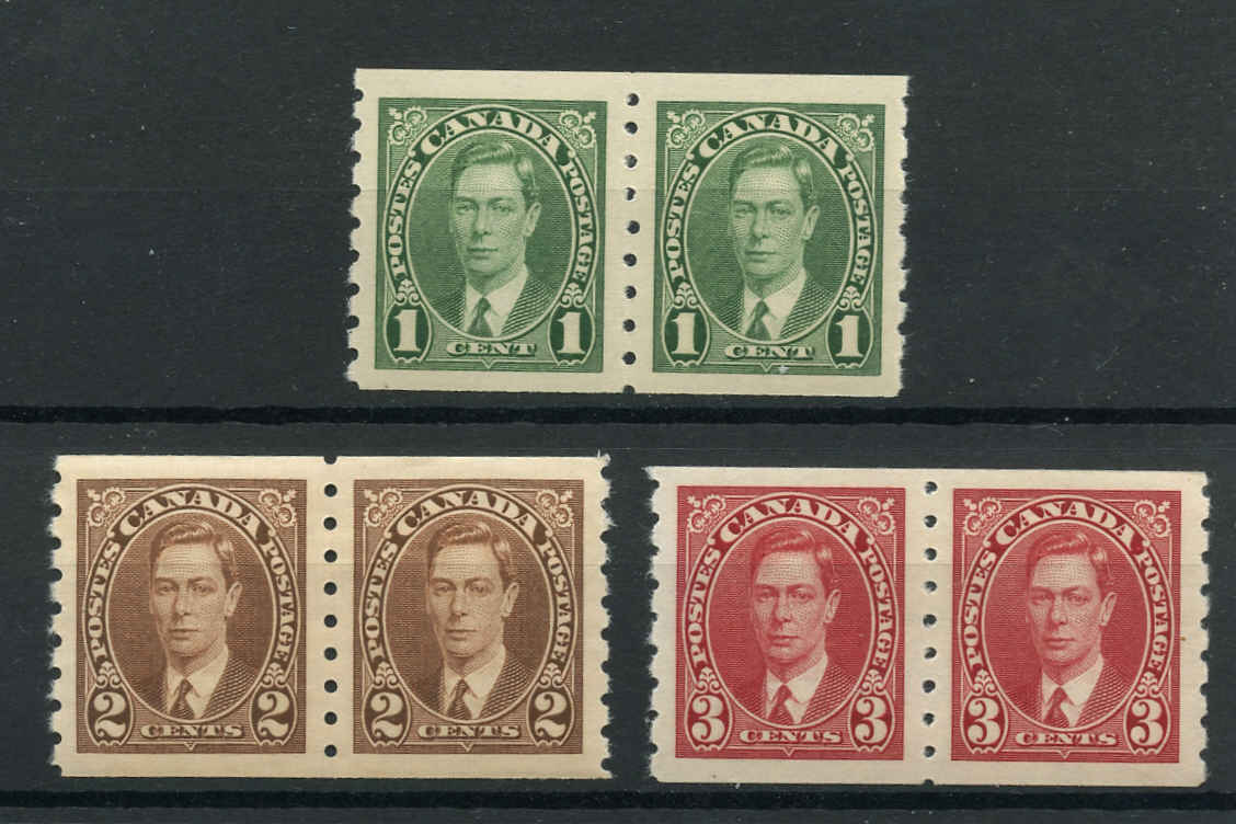 Canada #238-240, KGVI Coil Issue, VF, MNH