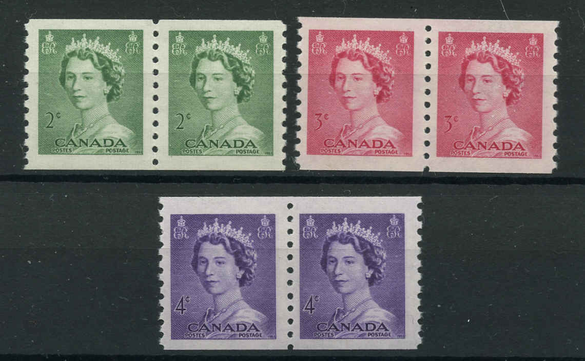 Canada #331-33, Coil QEII Issue, F-VF, MNH