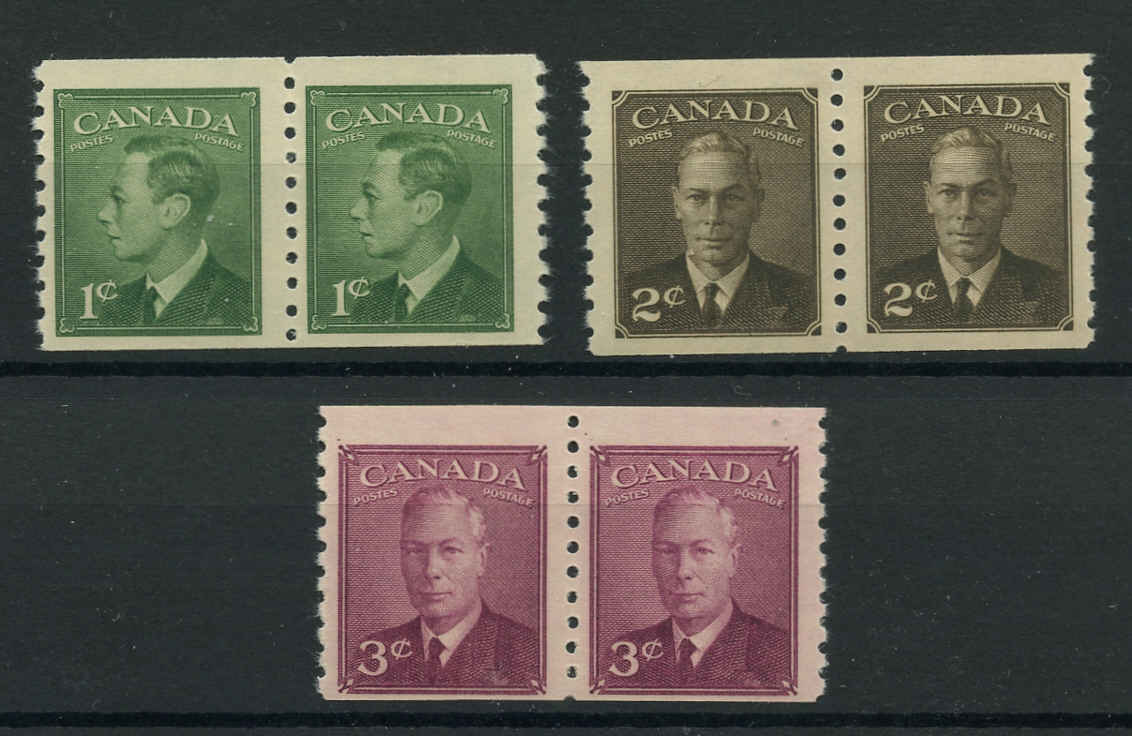Canada #297-299, Coil Pte-Ptage Issue, F+, MNH