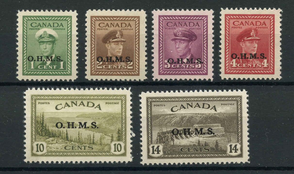 Canada #O1-O7 , Official Stamps, VF, MNH